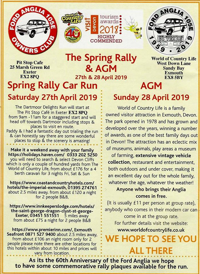 Ford Anglia Owners Club AGM Info